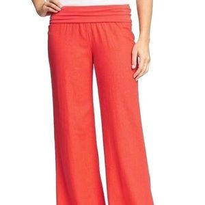 Old Navy coral fold over linen pants
